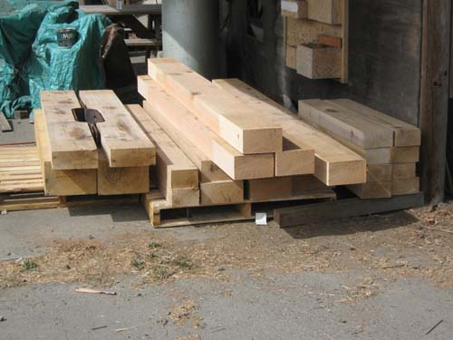 Stack of Oak beams